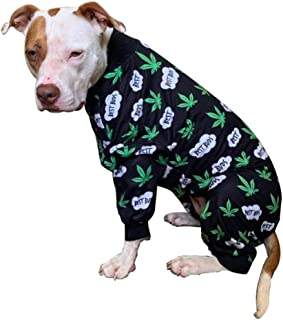 Tooth and Honey Pit Bull Pajamas/Cannabis Dog Pajamas/Lightweight Pullover Pajamas/Full Coverage Dog pjs/Pot Leaf Print