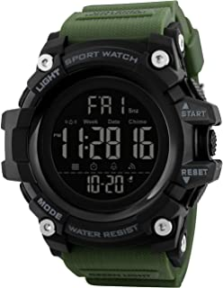 SKMEI Digital Men's Watch (Black Dial Green Colored Strap)