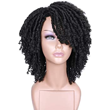 HANNE Dreadlock Wig Short Twist Wigs for Black Women and Men Afro Curly Synthetic Wig (Natural Black)