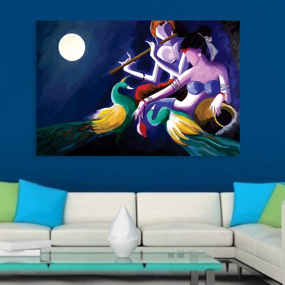 Amazon Com Inephos Unframed Canvas Painting Beautiful Radha Krishna Art Wall Painting For Living Room Bedroom Office Hotels Drawing Room 36 Inches X 24 Inches Posters Prints