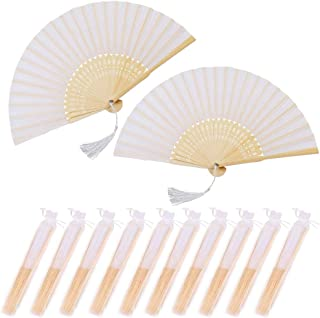 Nsiwem Abanico Plegable de Mano Tela Blanco 10 Piezas Ventilador Plegable Ventiladores de Mano Bambú Abanicos boda para in...