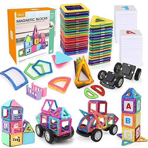LBLA Bloques De Construcción Magnéticos, 85 Magnéticas Construcción Educativos Set , Juego de Arco Iris Magnético Creativo en 3D para Niños
