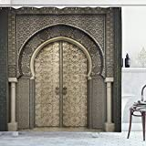 ABAKUHAUS marokkanisch Duschvorhang, Aged Gate geometrisch, Bakterie Schimmel Resistent inkl. 12 Haken Waschbar Stielvoller Digitaldruck, 175 x 180 cm, Sepia Black