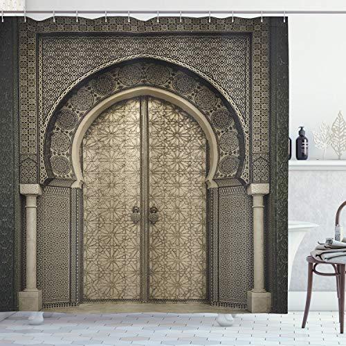 ABAKUHAUS marokkanisch Duschvorhang, Aged Gate geometrisch, Bakterie Schimmel Resistent inkl. 12 Haken Waschbar Stielvoller Digitaldruck, 175 x 200 cm, Sepia Black