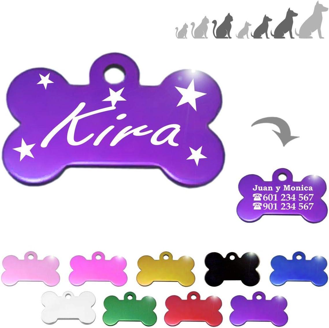 Iberiagifts - Hueso para Mascotas Medianas-Grandes con Estrellas Placa Chapa de identificación Personalizada para Collar Perro Gato Mascota grabada (Lila)