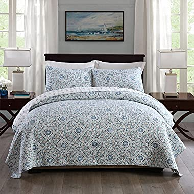 NEWLAKE Cotton Bedspread Quilt Sets-Reversible Patchwork Coverlet Set, Sunflower with Leaf Pattern, Queen Size