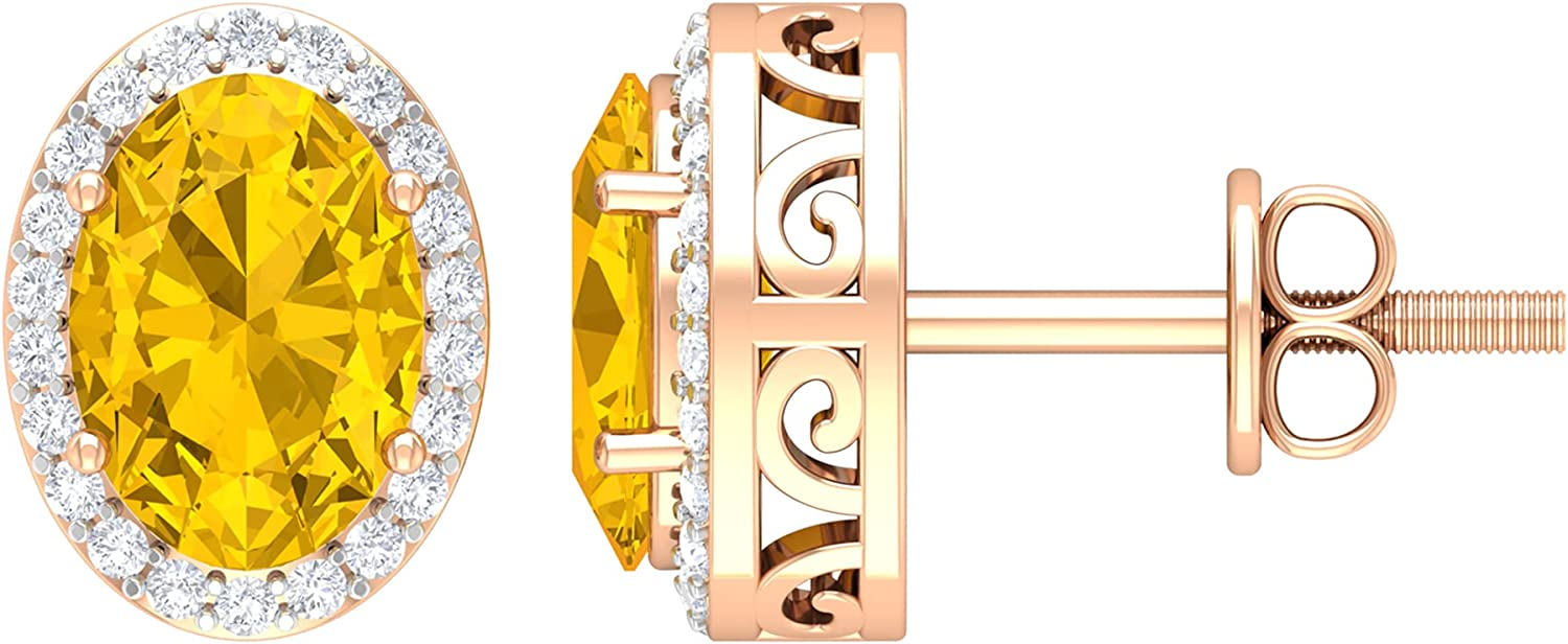 2.25 Colorado Springs Mall CT Oval Cut Yellow Sapphire Halo Solitaire and Stud Diamond discount