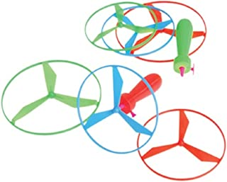 Dozen Assorted Color Helicopter Type Pull String Flying Disc Toys 5