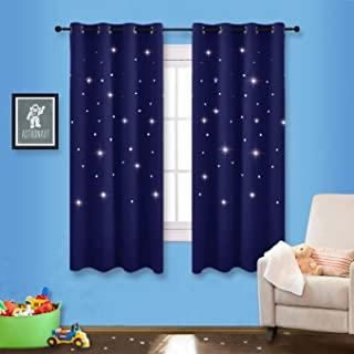 NICETOWN Romantic Starry Sky Curtains - Space Inspired Night Sky Twinkle Star Kid's Room Draperies, Creative Blackout Window Drapes for Teenagers Bedroom (Set of 2, 52 x 63 Inch, Dark Blue)