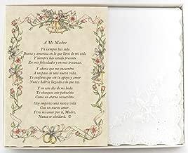 Wedding Handkerchief Poetry Hankie (La Madre De La Novia in Spanish) White, Lace Embroidered Bridal Keepsake, Beautiful Poem | Long-Lasting Memento for The Bride's Mother | Includes Gift Storage Box