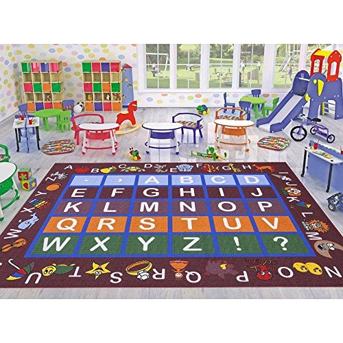 """Ottomanson Jenny Collection Dark Red Frame with Multi Colors Kids Children's Educational Alphabet (Non-Slip) Area Rug, 5'0"""" X 6'6"""", Red"""