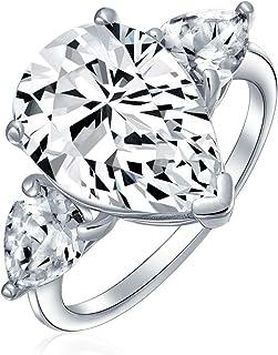 Bridal Wedding 7CT Cubic Zirconia 925 Sterling Silver Solitaire Teardrop Brilliant Cut Trillion Side Stones AAA CZ Pear Sh...