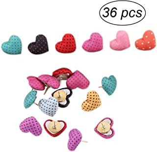 NUOLUX 36pcs Cute Thumbtack Pushpins Polka Dots Heart Shape Pins Decorative DIY Tool for School Home and Office Use (Random Color)