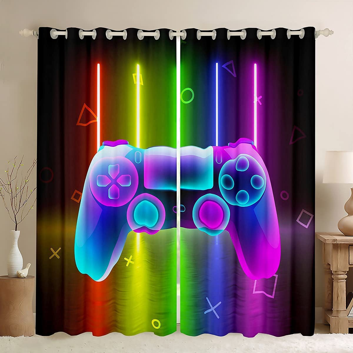 Video Games Curtains for Game Room Gamep Brand new Decor Watercolor Max 62% OFF Gaming