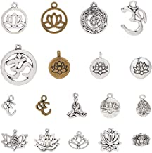 SUNNYCLUE 54pcs 18 Style Mixed Lotus Yoga OM OHM Flower Charms Pendants Jewelry Findings Making Accessory Supplies for DIY Necklace Bracelet Crafting, Antique Silver & Bronze