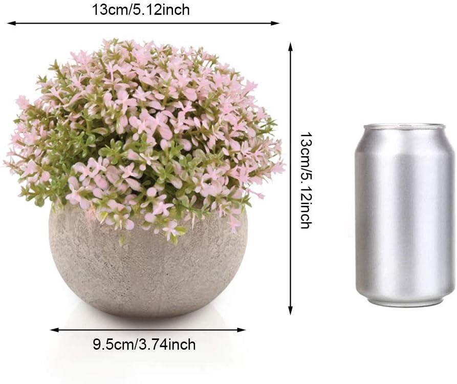 Aiskki K/ünstliche Blumen Bonsai Kunstpflanze mit grauen Topf K/ünstliche Pflanzen f/ür Hochzeit//B/üro//Garten//Zuhause Dekoration,3er Set Rosa