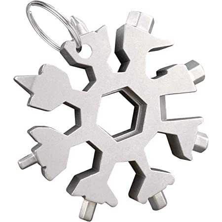 18 in 1 Snowflake Multitool Stainless Steel Snowflake Multifunction Tool Black Rainbow Color with Gift Box,M