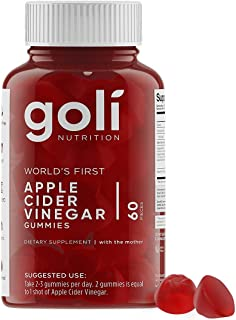 World's First Apple Cider Vinegar Gummy Vitamins by Goli Nutrition - Immunity, Detox & Weight - (1 Pack, 60 Count, with The Mother, Gluten-Free, Vegan, Vitamin B9, B12, Beetroot, Pomegranate)