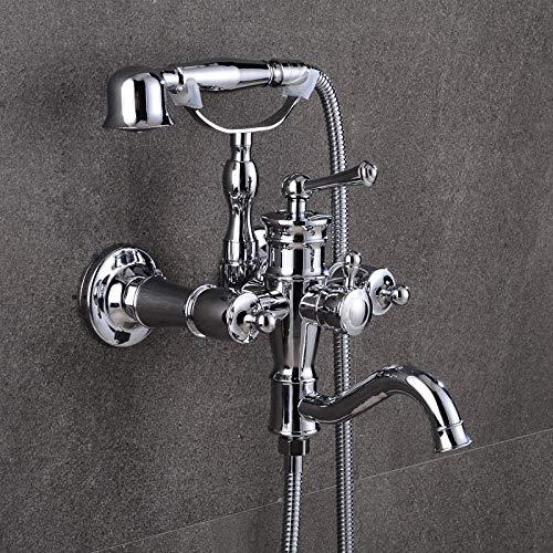 Gnailur 2 colores Lujo Bañera Faucets Negro Latón Baño Grifo Mezclador Tap Montado Montado Mano Mano Kit de Ducha Ducha Conjuntos Grifo-Cromo