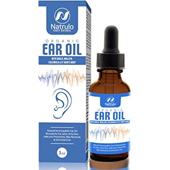 Organic Ear Oil for Ear Infections - Natural Eardrops for Infection Prevention, Swimmer's Ear & Wax Removal - Kids, Adults, Baby, & Dog Earache Remedy - with Mullein, Garlic, Calendula, Made in USA