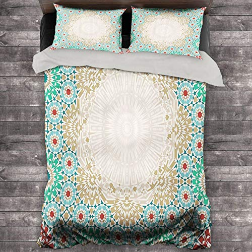 Miles Ralph Moroccan Large Duvet Cover Ottoman Mosaic Art Pattern with Oriental Floral Forms Antique Scroll Ceramic Boho Print King Duvet Set 89'x89' inch Multi