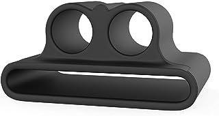 حافظة حزام ساعة ايربودس المحمول من السيليكون مزود بحزام مضاد للضياع لهاتف أبل إير بود (أسود)