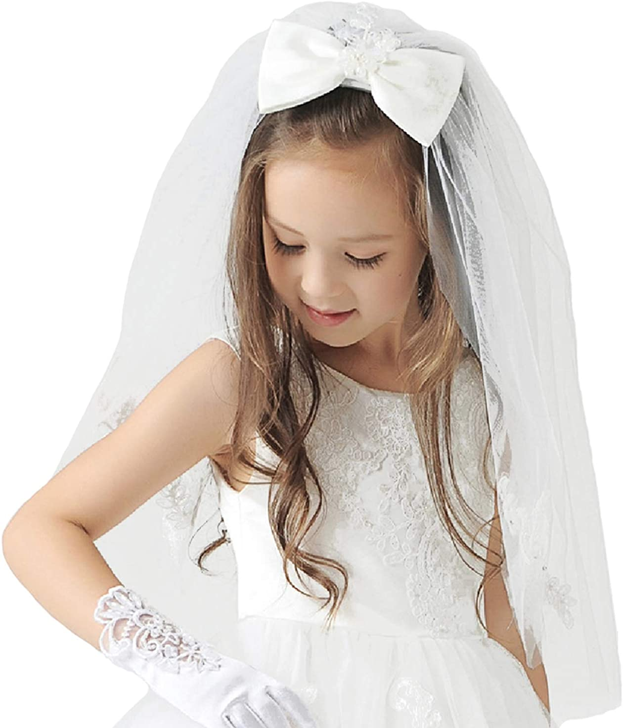Elesa Miracle First Communion Flower Girl Bow Embroidered Wedding Veil, Ivory, In Gift Box