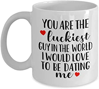 Funny Gift For Boyfriend - You're The Luckiest Guy In The World Coffee Mug - 11oz Sarcastic Love Gift For Valentine's Day, Couples, Best Boyfriend, Dating, Anniversary, Christmas