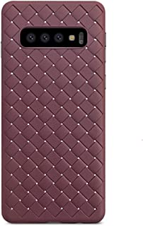 ANERNAI Compatible with Samsung Galaxy S10+ Case Weave Case, Ultra Thin Shockproof Breathable Soft TPU Durable Shell Cover Case (Brown)