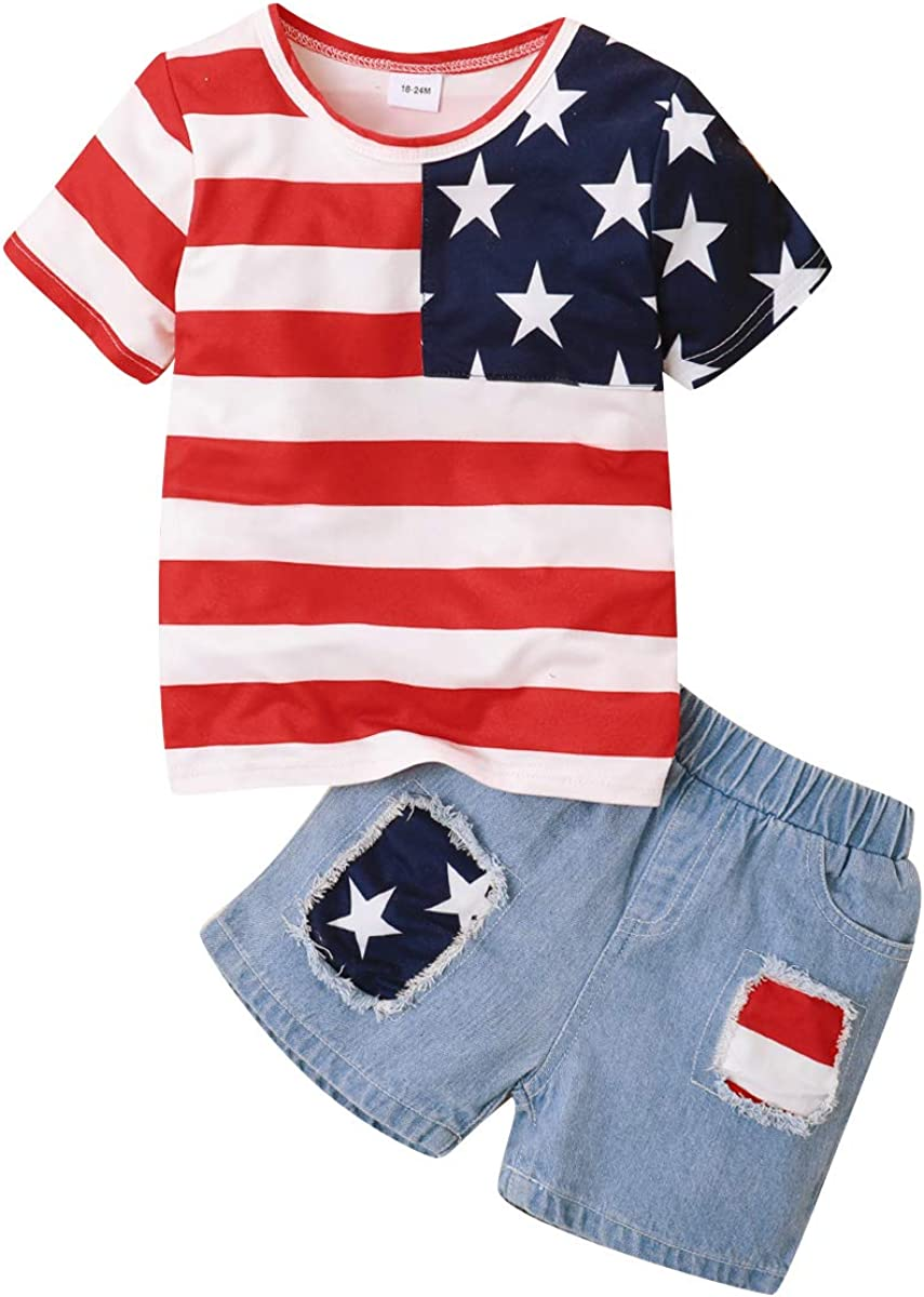 Baby Shorts Set Independence Day Little Boy Girl Striped Stars Tops Denim Shorts (Baby