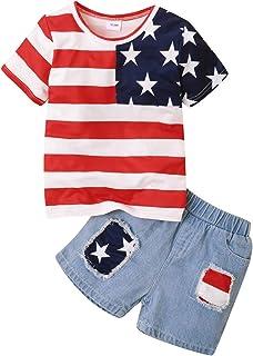 Toddler Baby Girls Boys 4th of July Tshirts Shorts Outfits 2pcs Unisex Infant American Flag Printed Pocket Denim Sets