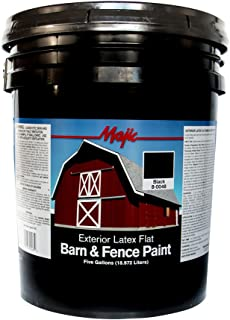 Majic Paints 8-0048-5 Latex Flat Barn & Fence Paint, 5-Gallons, Black