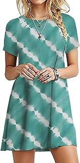 OMZIN - Vestido de mujer de manga corta, informal, de corte redondo, en tallas grandes, de 2XS a 5XL Yh-verde. XL