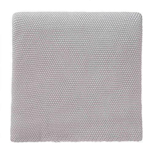 """URBANARA Decke """"Antua"""" – 200cm x 260cm, Silbergrau, 100prozent Baumwolle – Strick-Decke, Überwurf, Plaid, Sofadecke, Wohndecke"""