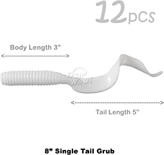 Fish WOW! 12pcs White 8 (with Tail Extended) Curly Single Tail Perch Grub Lure 5 inch Scampi Soft Bait