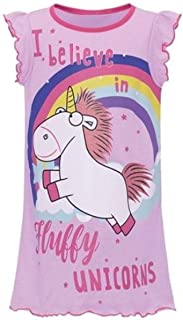 Girl's Kid's Unicorn Nightie 'I Believe in Fluffy Unicorns' Work Pink Night Dress Top T-Shirt Nightwear