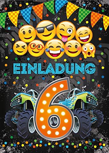 Junaversum 12 Einladungskarten zum 6. Geburtstag Kinder sechste Kindergeburtstag Auto Monster-Truck orange