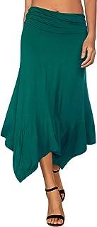 DJT Women's Flowy Handkerchief Hemline Midi Skirt