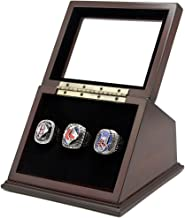 Championship Rings Display Case Box with 3 Holes and Slanted Glass Window for any Championship Rings -Rings Are Not Included