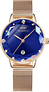 OLMECA Women's Watches Fashion Simple Watches Ultra Thin Wristwatches Waterproof Quartz Women Watches Chronograph Watch for Women Blue