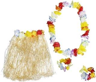 Hawaiian Luau Skirt - 24-Piece Hula Dance Luau Party Supplies Set with 6 Grass Skirts Colorful Silk Faux Hibiscus Flowers,...