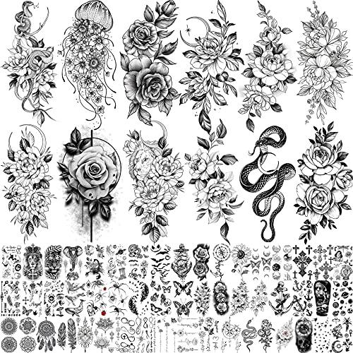 Bilizar 64 Blatt Langlebige Blumen Temporäre Tattoos Frauen Arm Hals, Quallen Sonnen Blume Mond Rose Fake Tattoos Erwachsene Mädchen Haut, 3D Realistisch Tattoo Aufkleber Schlange Pfingstrose Kinder