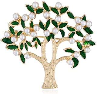 Lucky Pearl Tree Brooches for Women Men Girls Gold Tone Fashion Vintage Green Olive Leaf Brooch Pins Bow Tie Necktie Dress...
