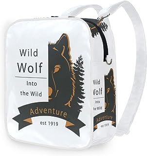 DEZIRO - Mochila escolar de media cara con diseño de lobo