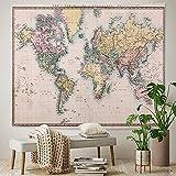 PPOU Vintage Mundo náutico Mapa Colgante de Pared Arte Familiar Tapiz Hippie Bohemio Fondo Tela Manta Tela Colgante A4 180x200cm