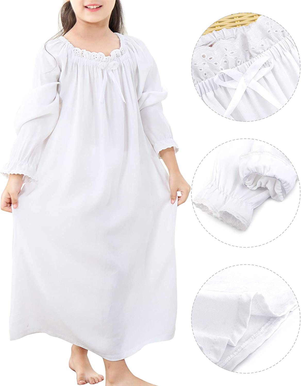 BOOPH Girls Nightgown Baby Toddler Cotton Sleep Shirts Flower Nightwear Dress