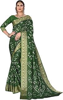 Indian Woman mehendi green Bandhej Art Silk Zari weaving Festival Bandhani Printed Saree Blouse Sari 6317