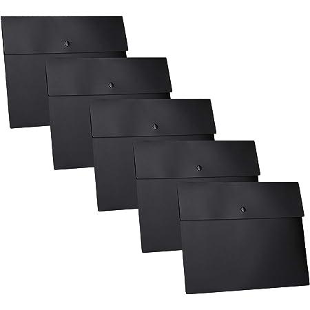 MaoXinTek Pochette Porte Documents A4, Noir Plastique Dossier Sachets Chemise avec Bouton Pour Classer Fichiers Papier Fente Recettes Bureau Organisation, Lot de 5