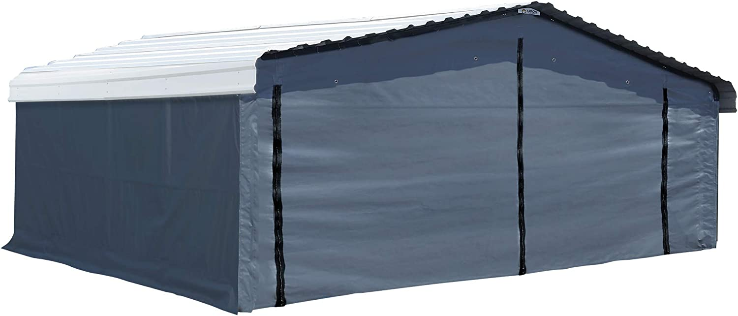 Amazon Com Arrow Shed Fabric Enclosure Kit With Uv Treated Cover For 20 X 20 Carports Metal Carport Not Included Gray Garden Outdoor