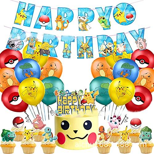 Globos para fiestas de Niños, 38Pcs Cumpleaños Fiesta Decoracion Temática Dibujos Animados 12inch Globos de Latex Cake Toppers Happy Birthday Banner para Cumpleaños Baby Shower (C)